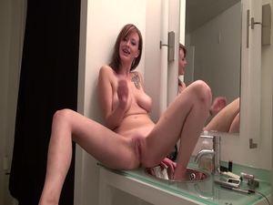 Cutie having naughty fun in the bathroom